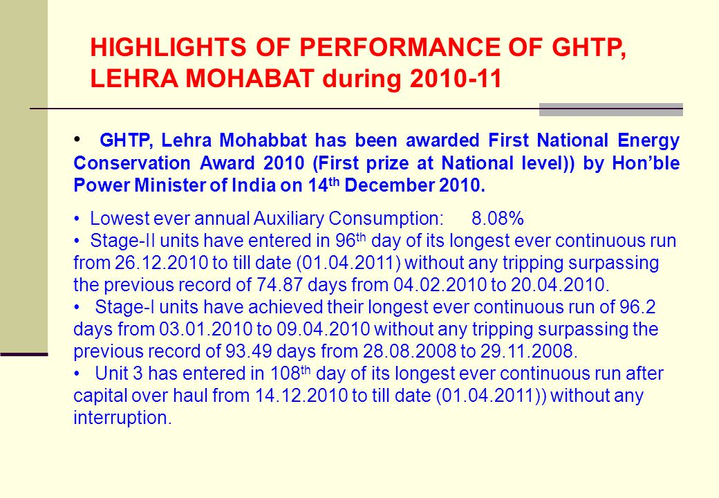 HIGHLIGHTS OF PERFORMANCE OF GHTP, LEHRA MOHABAT during 2010-11