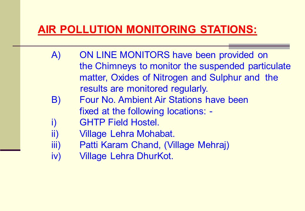AIR POLLUTION MONITORING STATIONS: