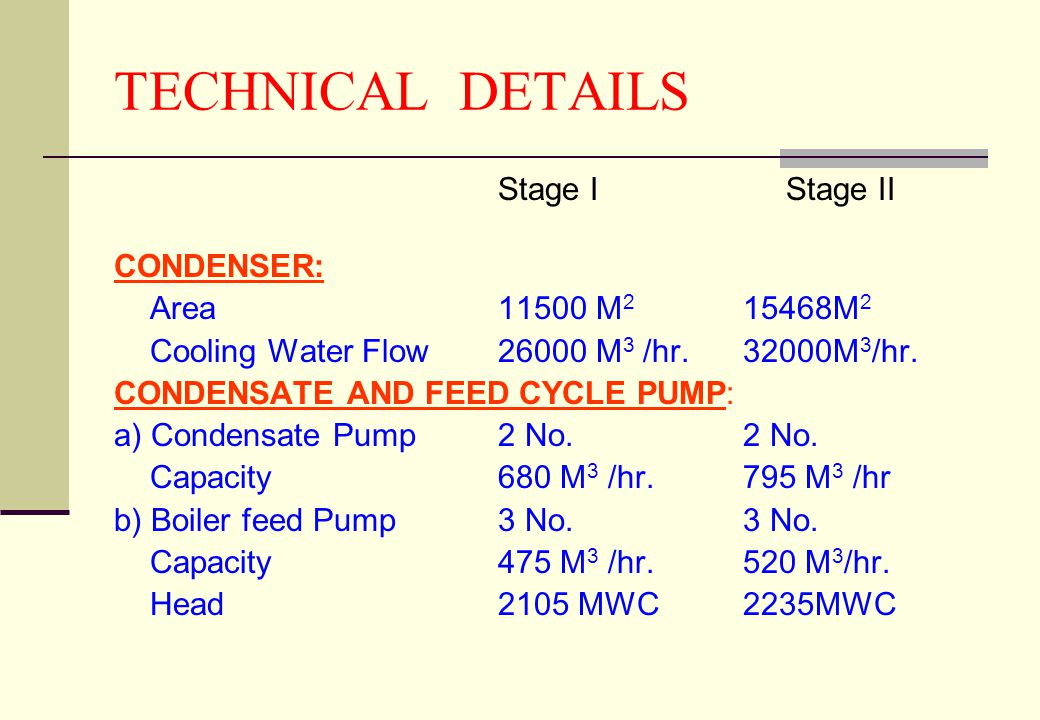TECHNICAL DETAILS Stage I Stage II CONDENSER: Area 11500 M2 15468M2