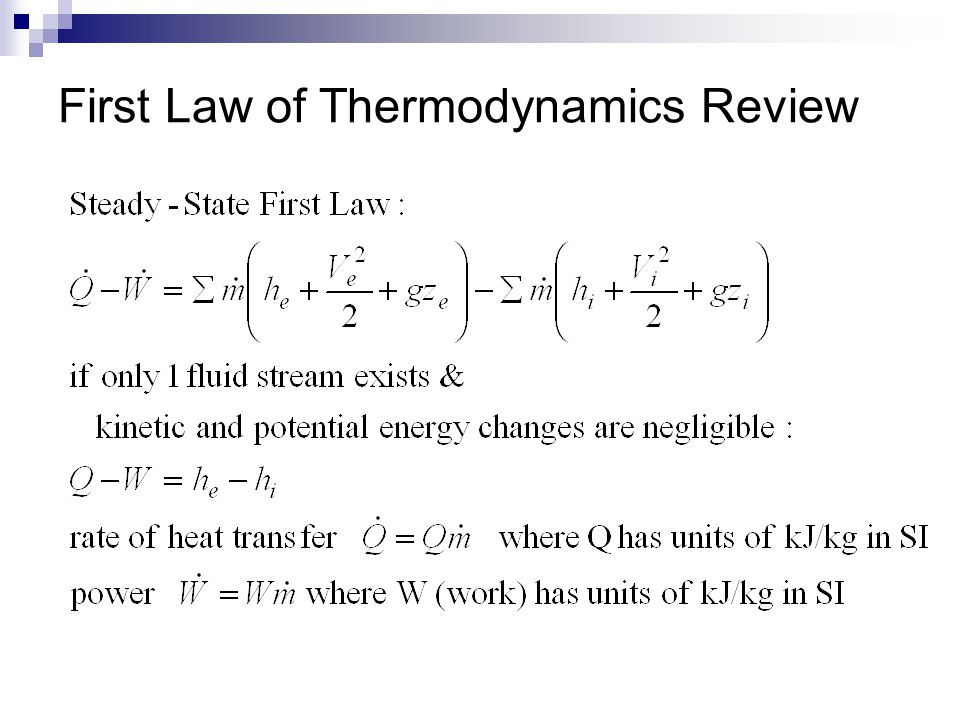 First Law of Thermodynamics Review