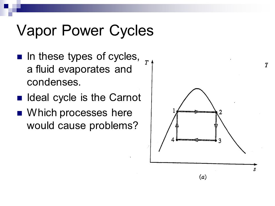 Vapor Power Cycles In these types of cycles, a fluid evaporates and condenses. Ideal cycle is the Carnot.