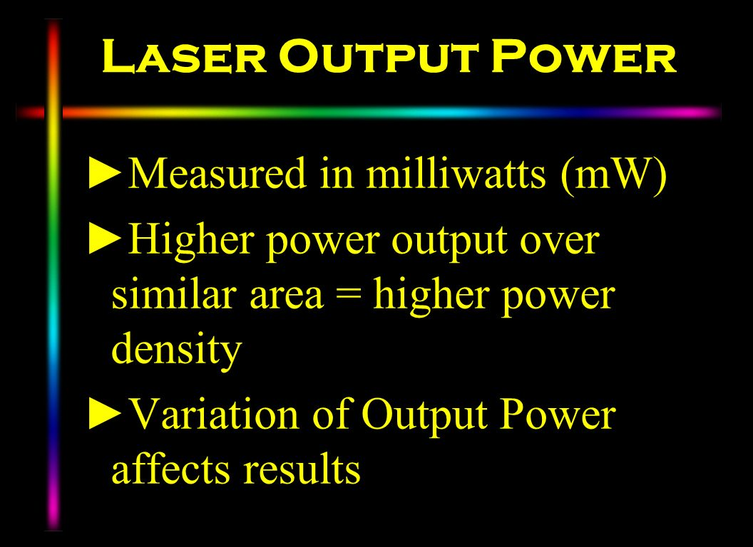 Laser Output Power Measured in milliwatts (mW)