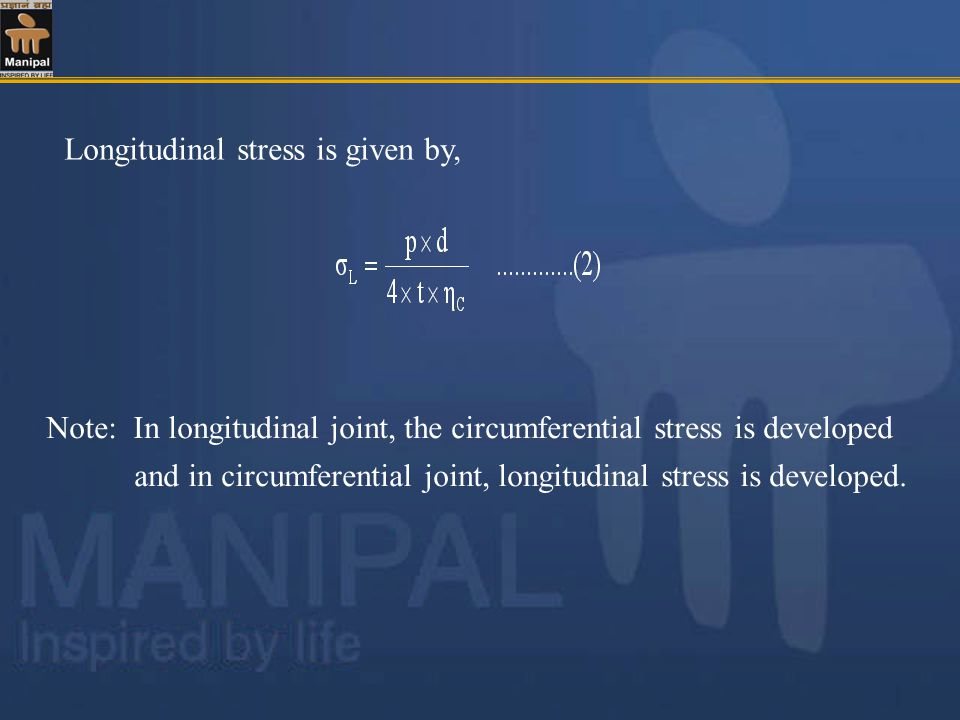 Longitudinal stress is given by,
