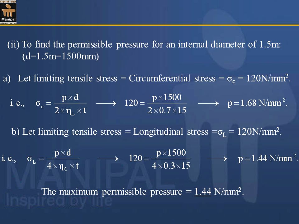(ii) To find the permissible pressure for an internal diameter of 1