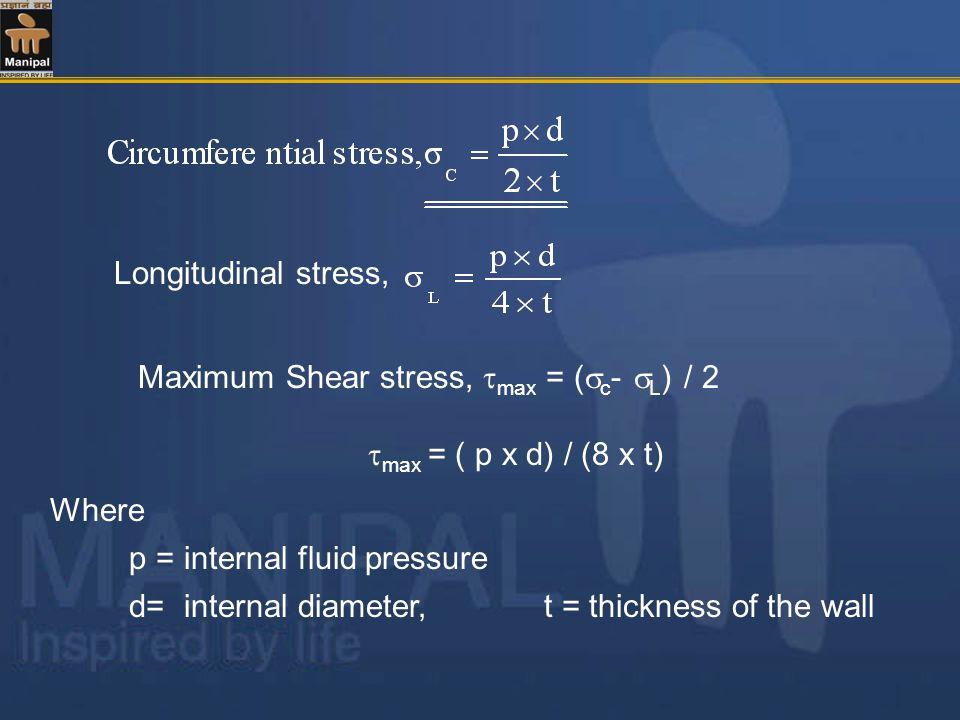 Longitudinal stress, Maximum Shear stress, max = (c- L) / 2. max = ( p x d) / (8 x t) Where. p = internal fluid pressure.