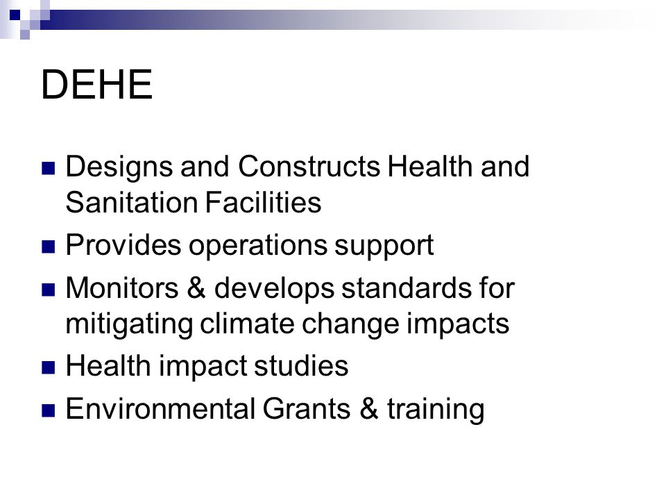 DEHE Designs and Constructs Health and Sanitation Facilities