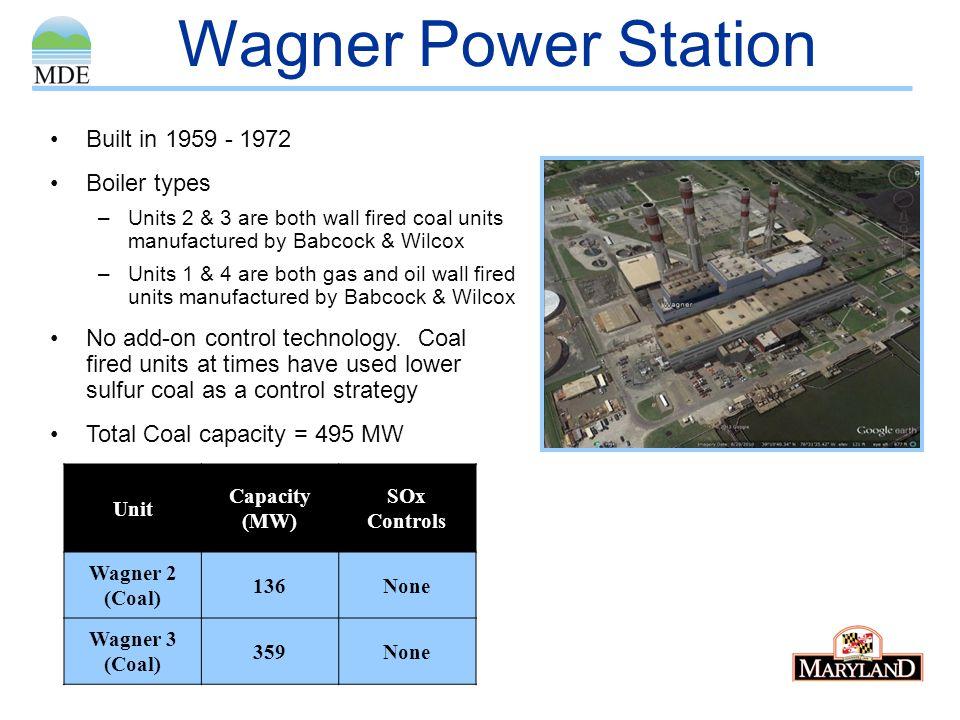 Wagner Power Station Built in 1959 - 1972 Boiler types