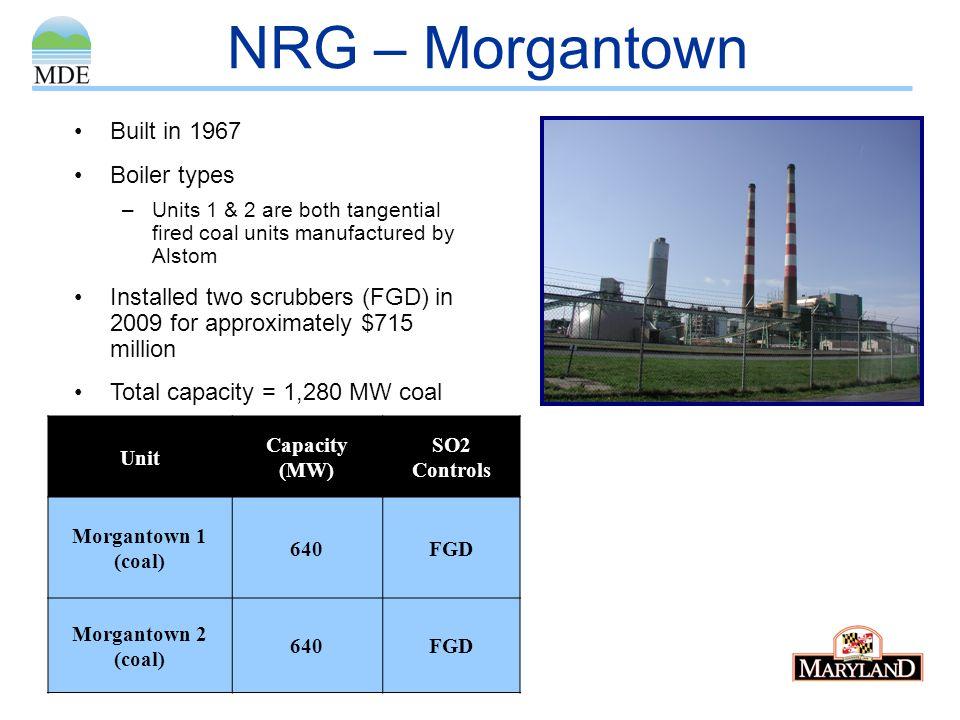 NRG – Morgantown Built in 1967 Boiler types