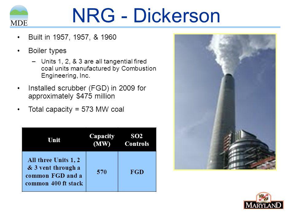 NRG - Dickerson Built in 1957, 1957, & 1960 Boiler types
