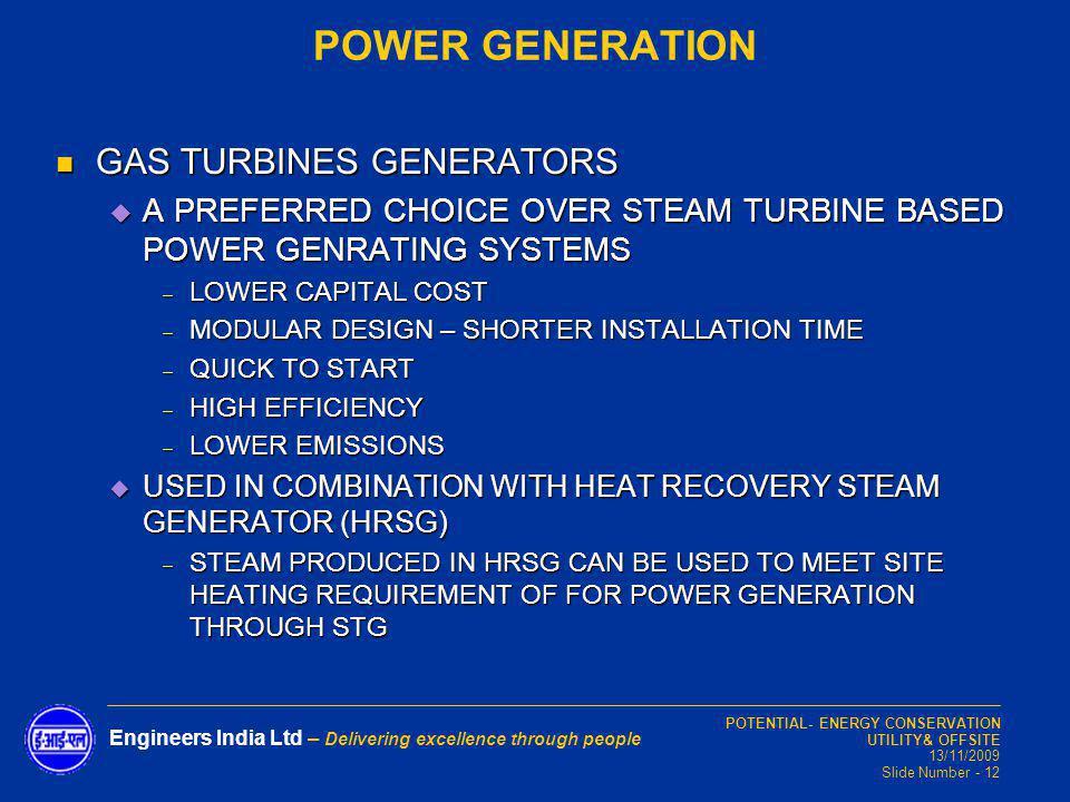 POWER GENERATION GAS TURBINES GENERATORS