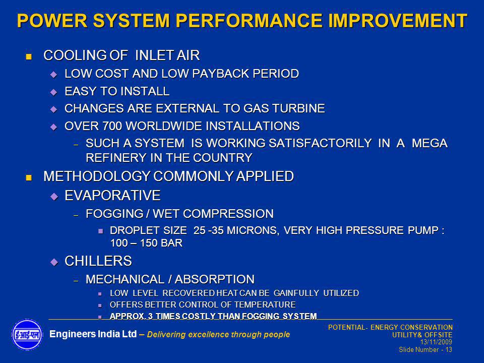 POWER SYSTEM PERFORMANCE IMPROVEMENT