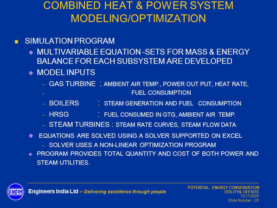 COMBINED HEAT & POWER SYSTEM MODELING/OPTIMIZATION