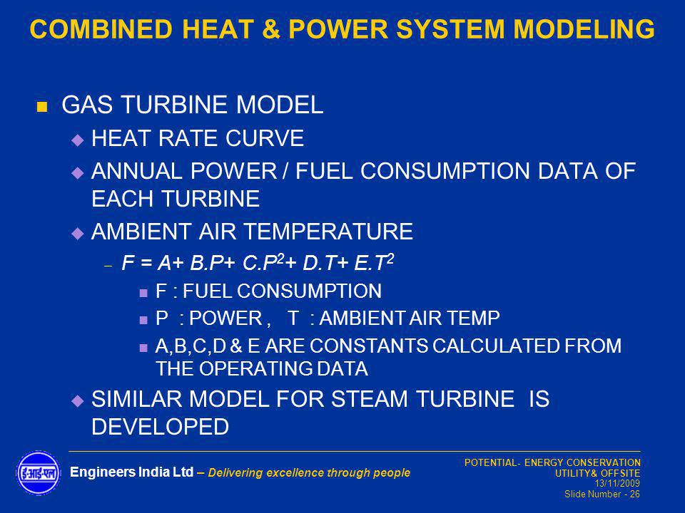 COMBINED HEAT & POWER SYSTEM MODELING