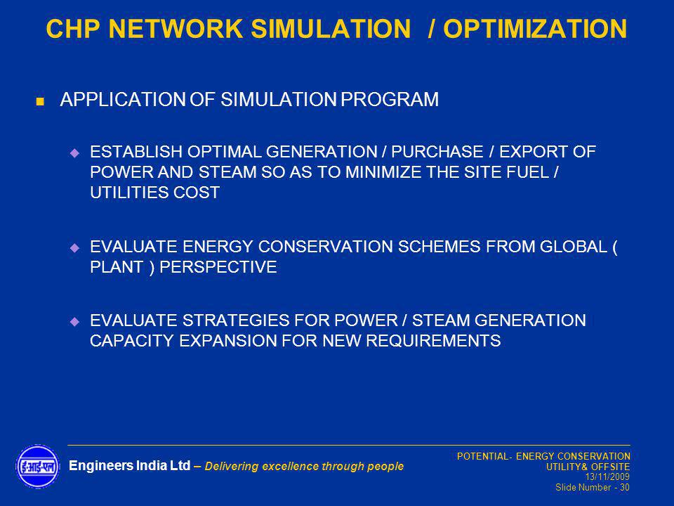 CHP NETWORK SIMULATION / OPTIMIZATION