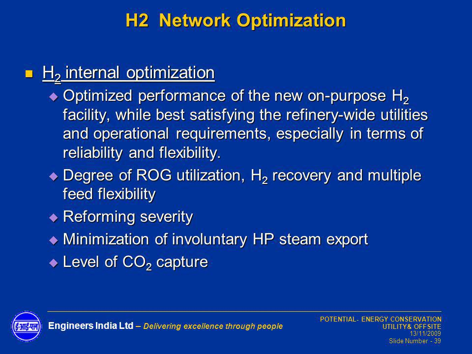 H2 Network Optimization