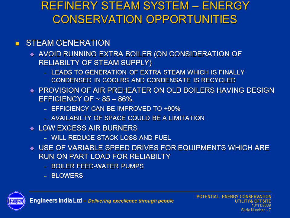 REFINERY STEAM SYSTEM – ENERGY CONSERVATION OPPORTUNITIES