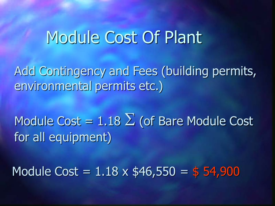 Module Cost Of Plant Add Contingency and Fees (building permits, environmental permits etc.)