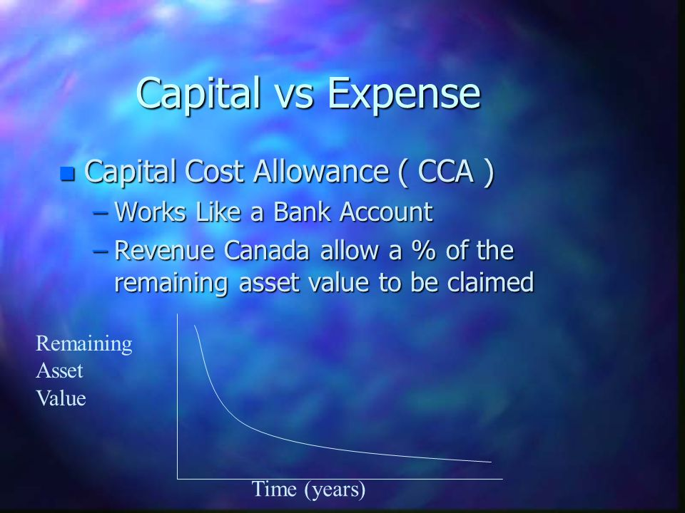 Capital vs Expense Capital Cost Allowance ( CCA )