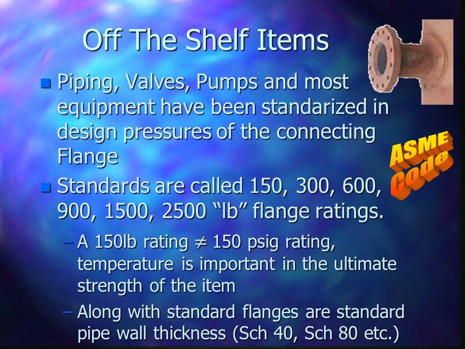 Off The Shelf Items ASME Code