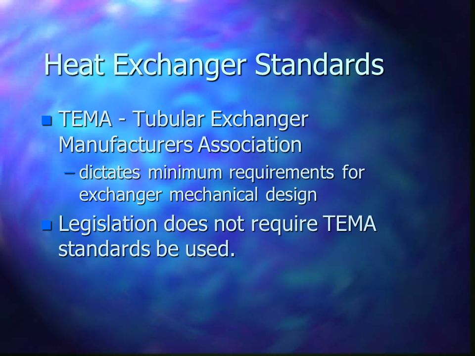 Heat Exchanger Standards