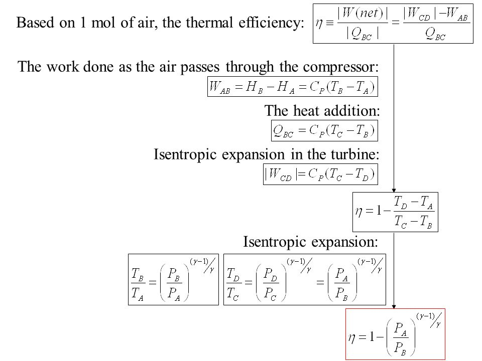 Based on 1 mol of air, the thermal efficiency: