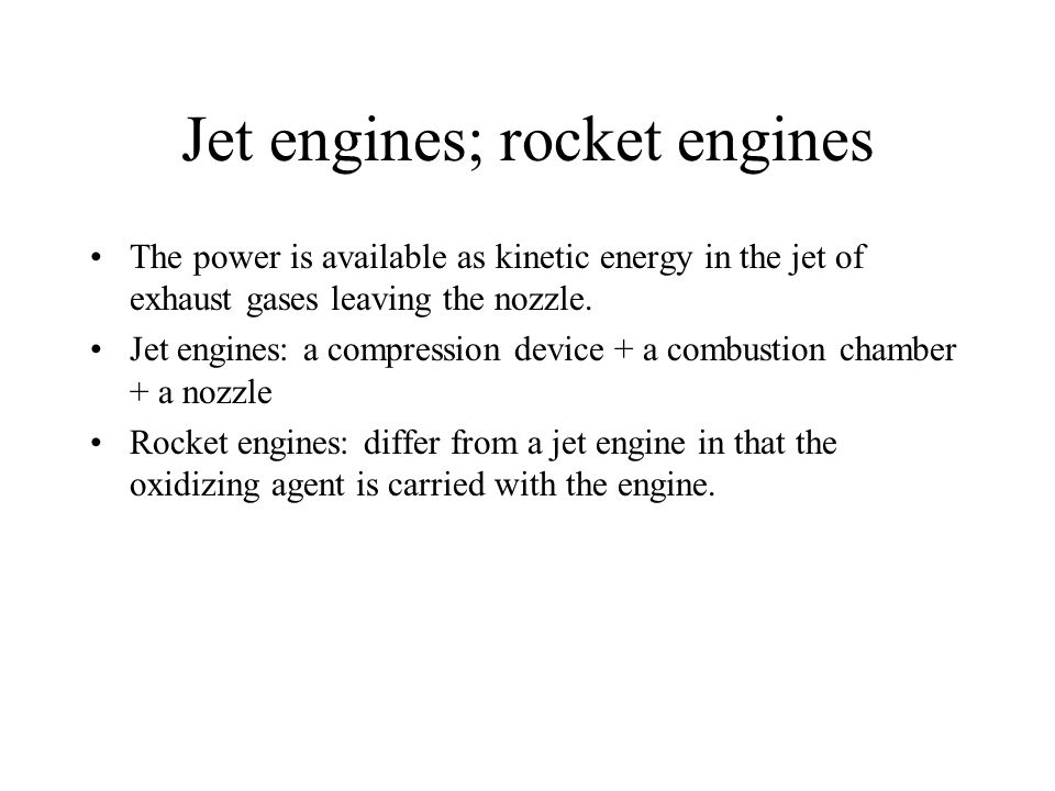 Jet engines; rocket engines