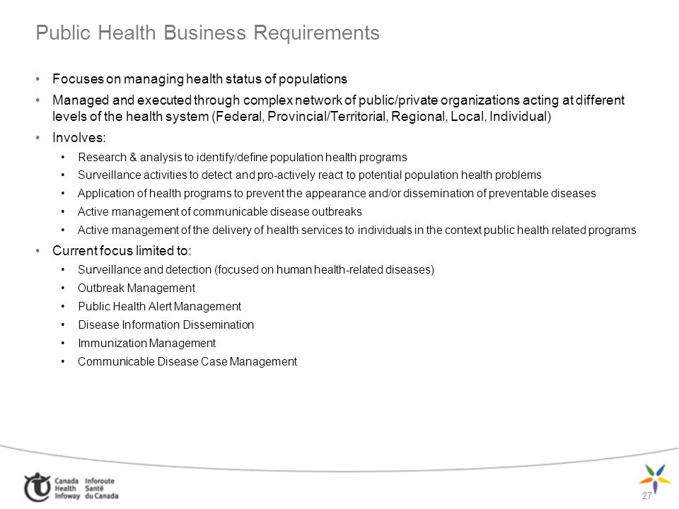 Public Health Business Requirements