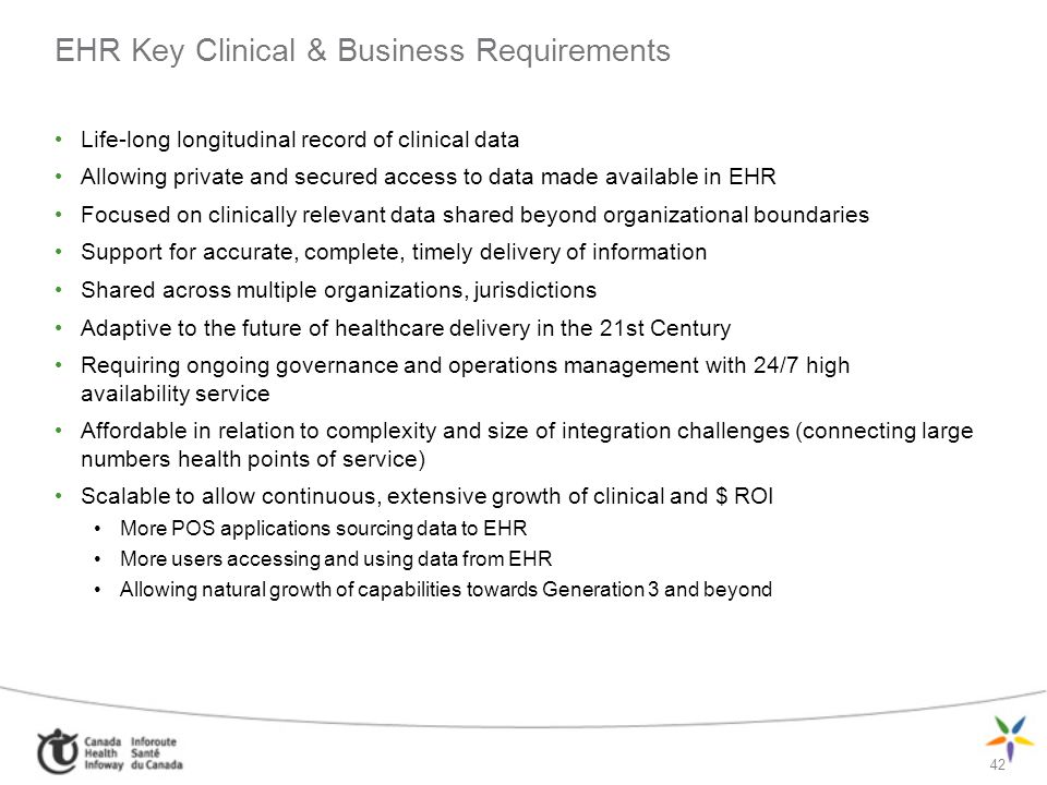 EHR Key Clinical & Business Requirements
