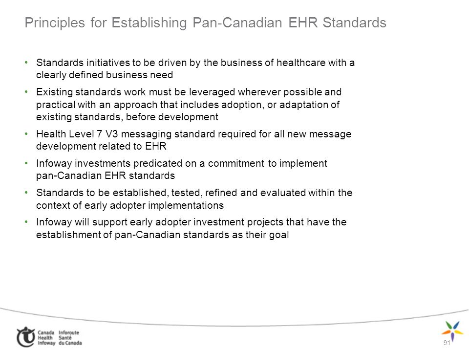 Principles for Establishing Pan-Canadian EHR Standards