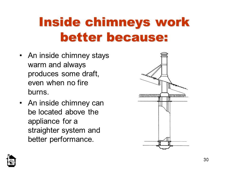 Inside chimneys work better because: