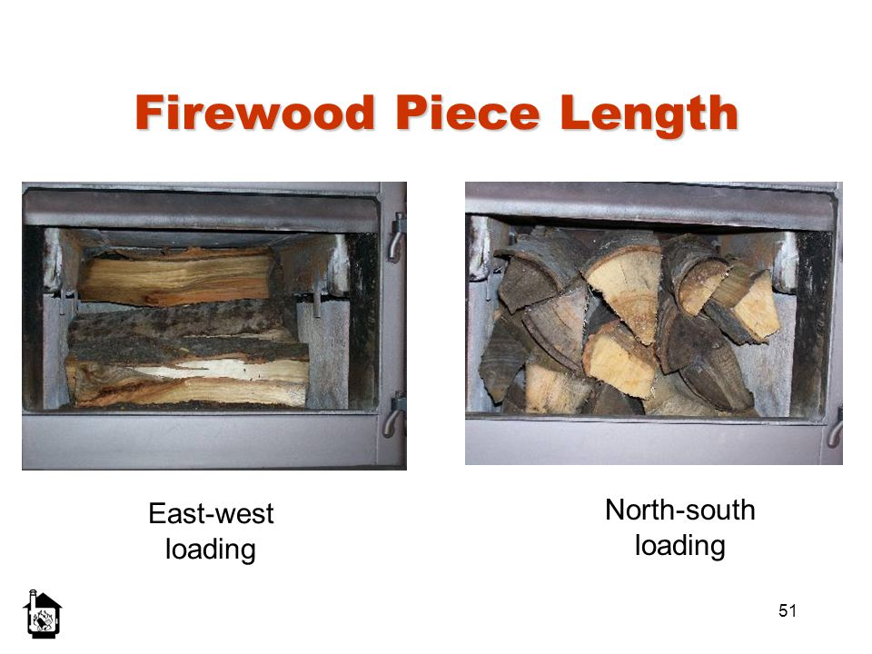 Firewood Piece Length East-west loading North-south loading