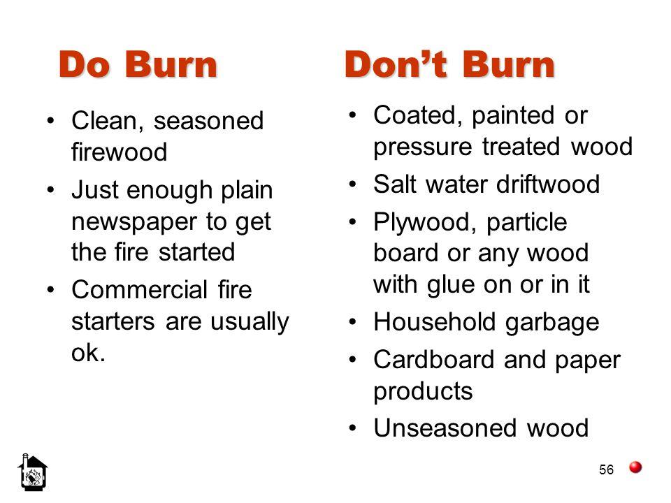 Do Burn Don't Burn Coated, painted or pressure treated wood