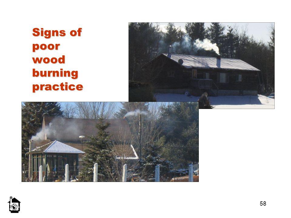 Signs of poor wood burning practice