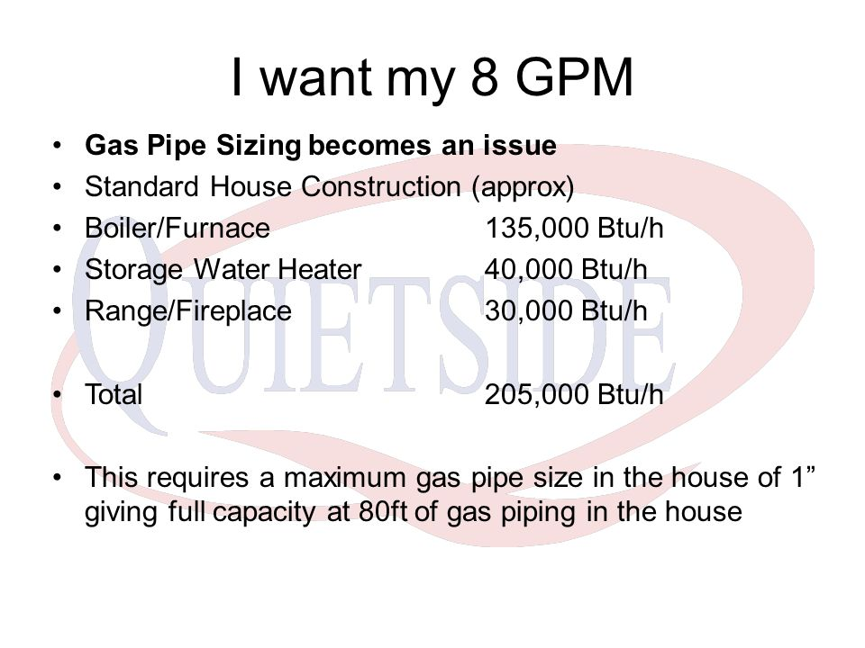 I want my 8 GPM Gas Pipe Sizing becomes an issue