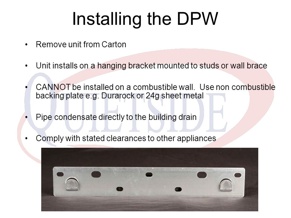 Installing the DPW Remove unit from Carton