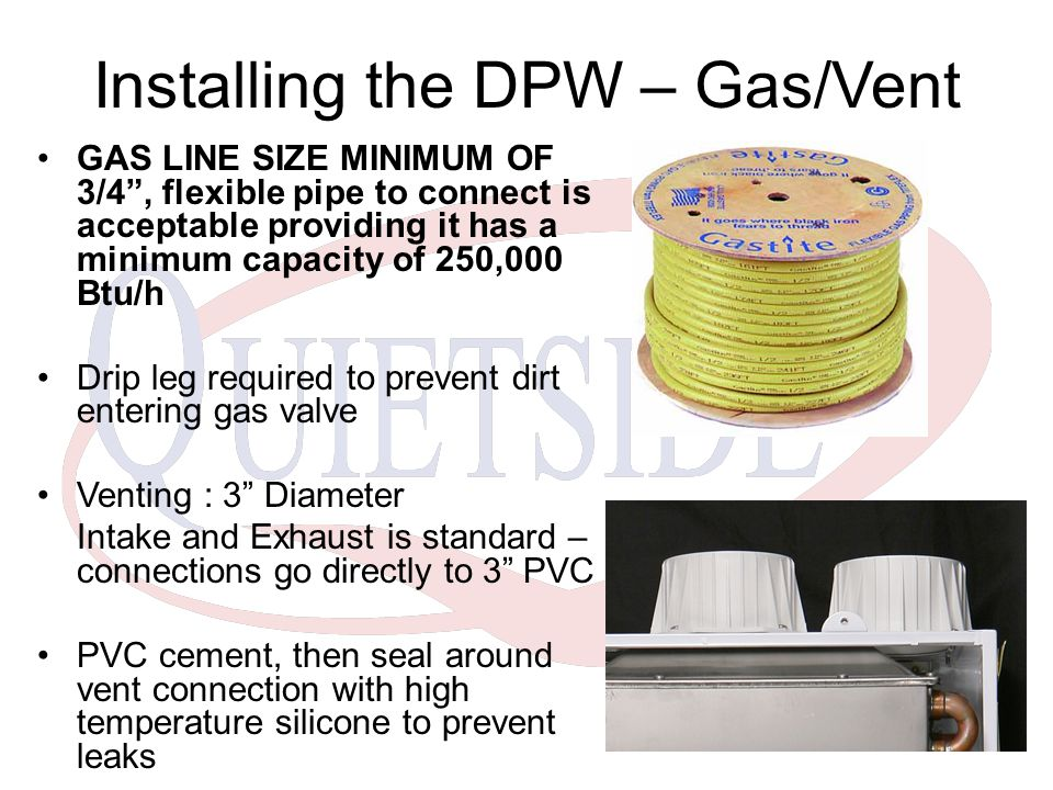 Installing the DPW – Gas/Vent