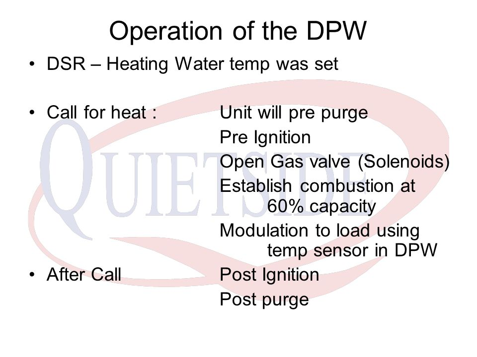 Operation of the DPW DSR – Heating Water temp was set