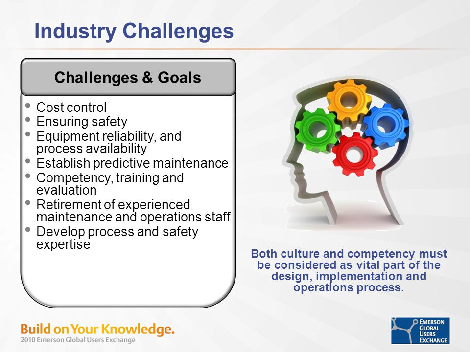 Industry Challenges Challenges & Goals Cost control Ensuring safety