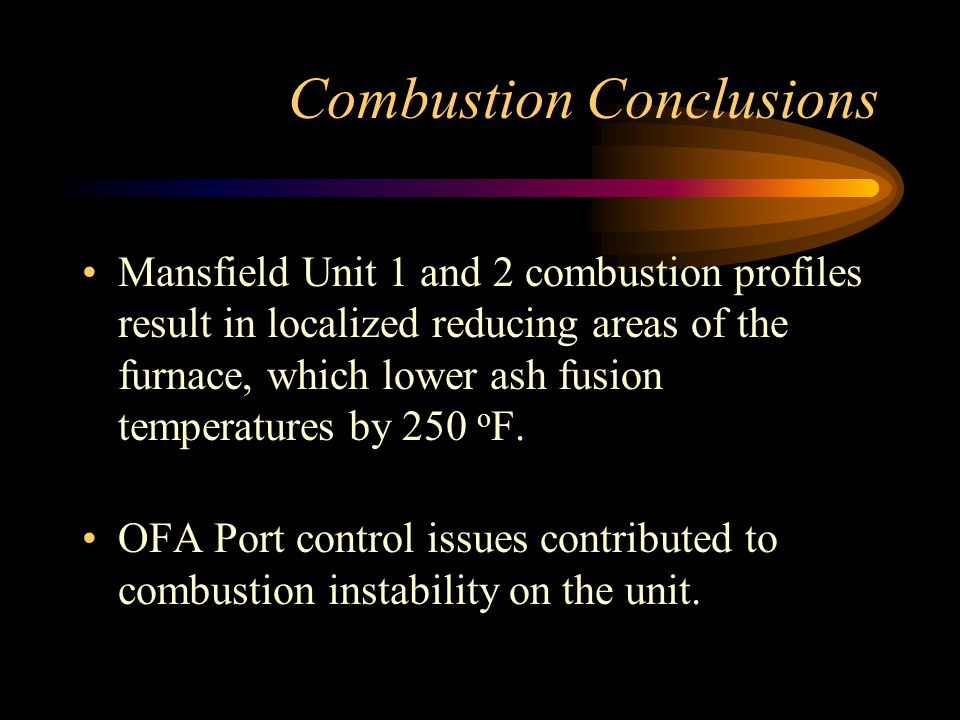 Combustion Conclusions