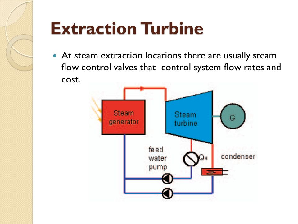 Extraction Turbine At steam extraction locations there are usually steam flow control valves that control system flow rates and cost.