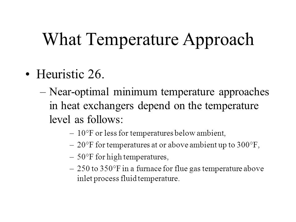 What Temperature Approach
