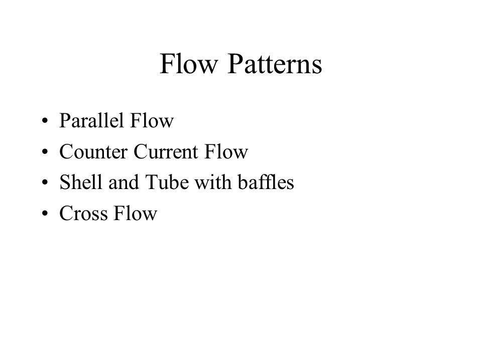 Flow Patterns Parallel Flow Counter Current Flow
