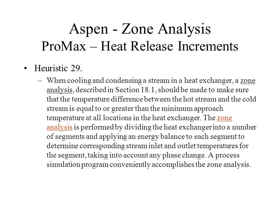Aspen - Zone Analysis ProMax – Heat Release Increments