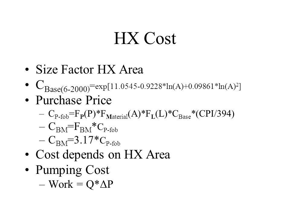 HX Cost Size Factor HX Area