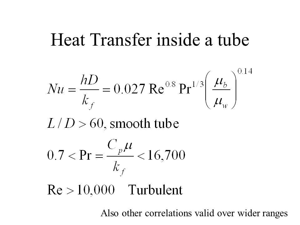 Heat Transfer inside a tube