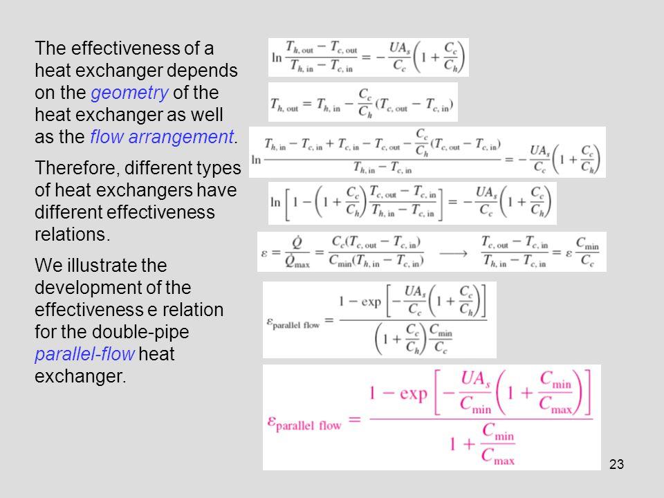 The effectiveness of a heat exchanger depends on the geometry of the heat exchanger as well as the flow arrangement.