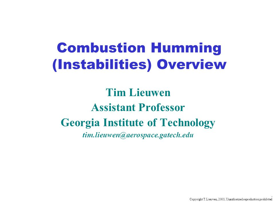 Combustion Humming (Instabilities) Overview