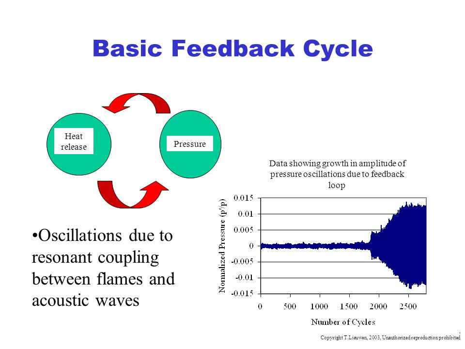 Basic Feedback Cycle Heat release. Pressure. Data showing growth in amplitude of pressure oscillations due to feedback loop.