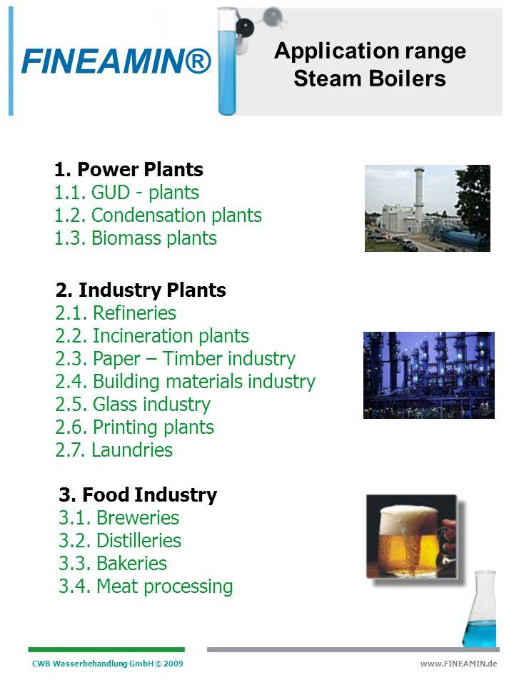 FINEAMIN® Application range Steam Boilers 1. Power Plants