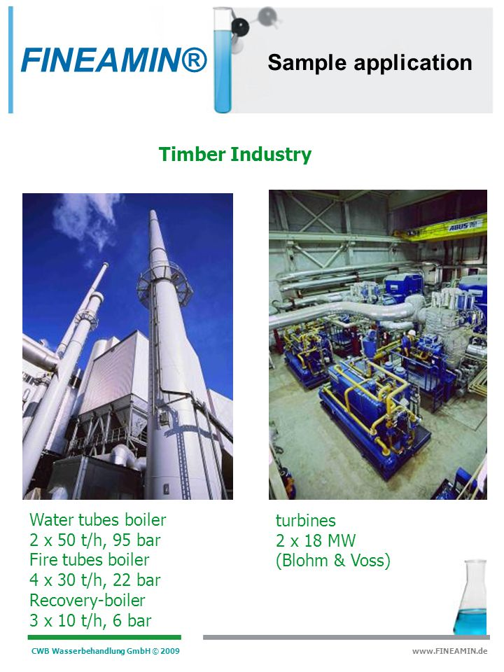 FINEAMIN® Sample application Timber Industry Water tubes boiler
